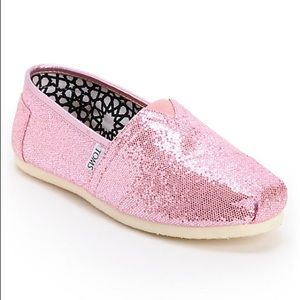 Toms rose gold glitter shoes 7.5